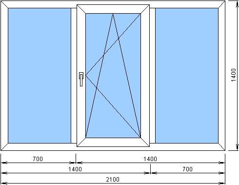 Kbe трехстворчатое окно с одной поворотно-откидной створкой .